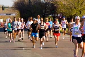 Denver, Colorado, USA - April 27, 2008: Elite runners at the starting line of the Cherry Creek Sneak near Cherry Creek North Street in Denver, Colorado